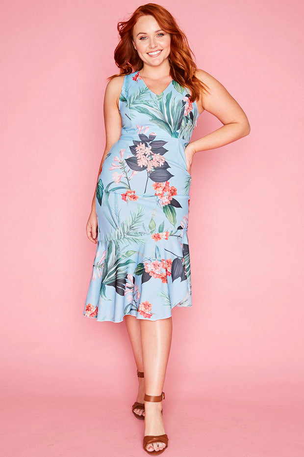 Date Night Blue Floral Dress