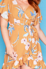 Sue Mustard Floral Wrap Dress