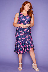 Date Night Flamingo Print Dress
