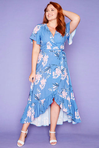 Cate Blue Floral Wrap Dress