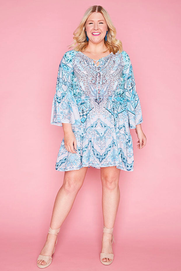 Harper Blue Print Dress