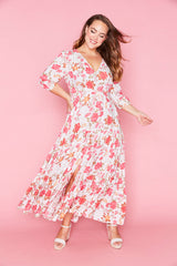 Adeline White Floral Maxi Dress