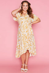 Clara Yellow Floral Wrap Dress