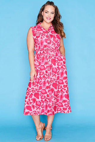 Elizabeth Pink Leopard Dress
