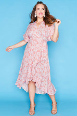 Clara Blush Floral Wrap Dress
