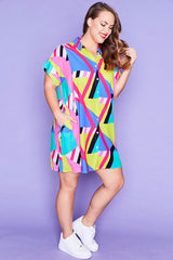 Frances Geo Rainbow Shirt Dress