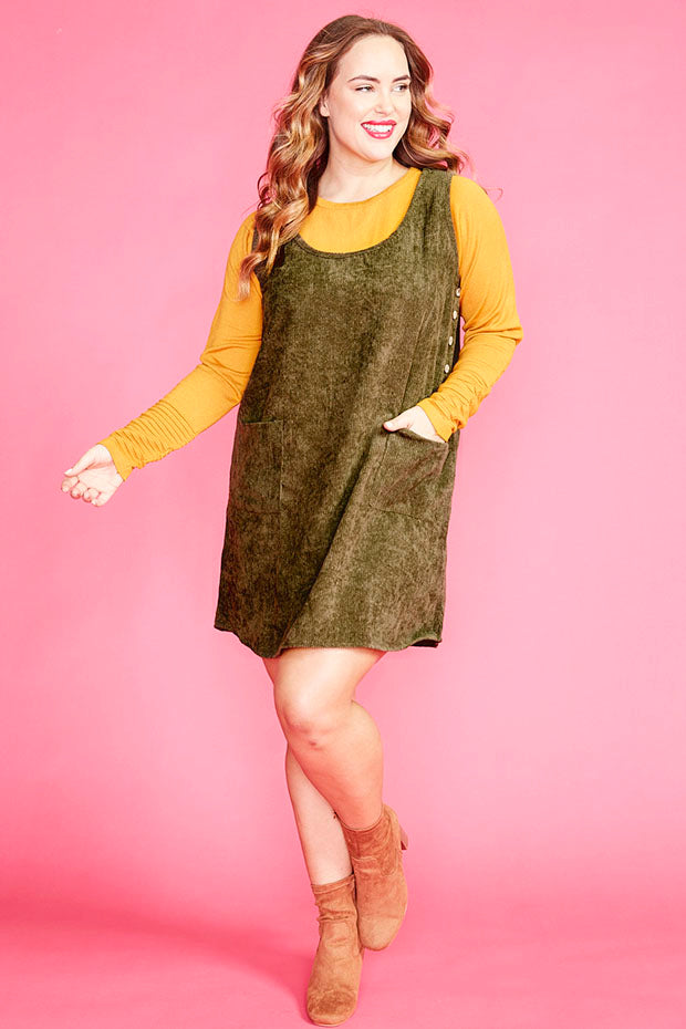 Heidi Khaki Pinafore Dress