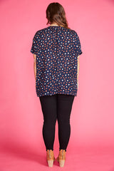 Serena Navy Spots Top