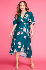Mandy Teal Floral Wrap Dress