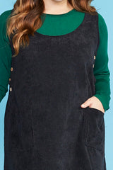 Heidi Black Pinafore Dress