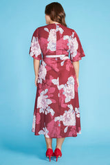 Mandy Burgundy Floral Wrap Dress