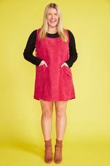 Heidi Red Pinafore Dress