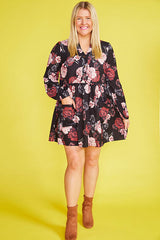 Christina Black Floral Dress