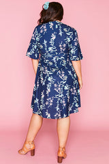 Sarah Navy Floral Wrap Dress