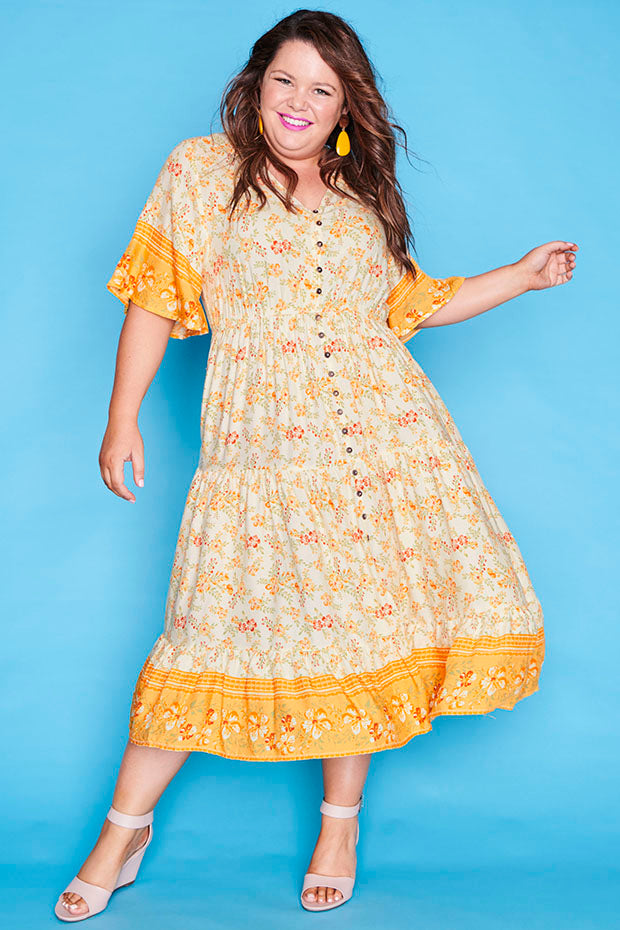 Jessica Yellow Floral Dress