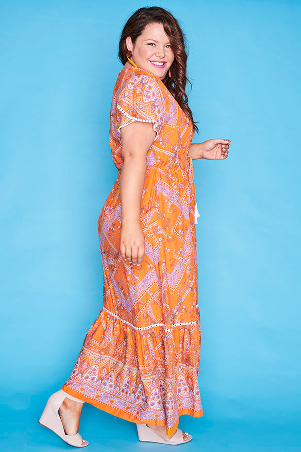 Bonnie Yellow Print Maxi Dress