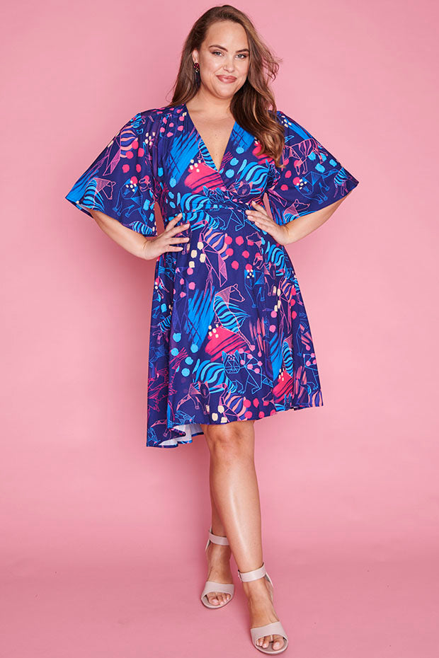 Sarah Folded Fauna Wrap Dress