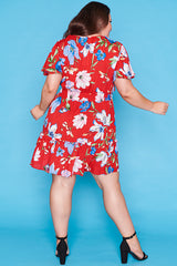 Kimberley Red Floral Dress