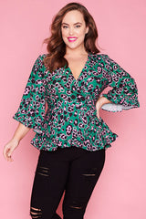 Amour Green Leopard Wrap Top