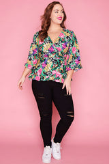 Amour Native Flora Wrap Top