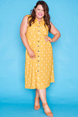 Elizabeth Mustard Polka Dot Dress