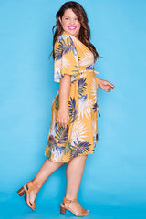 Sarah Yellow Tropical Wrap Dress