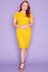 Beatrice Yellow Lace Dress