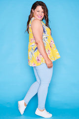 Leah Yellow Floral Top