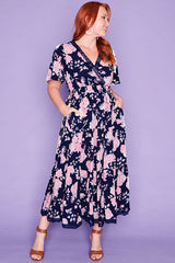 Cynthia Navy Floral Dress