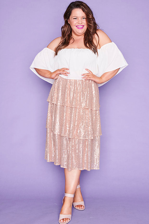 Candice Rose Gold Sequin Skirt