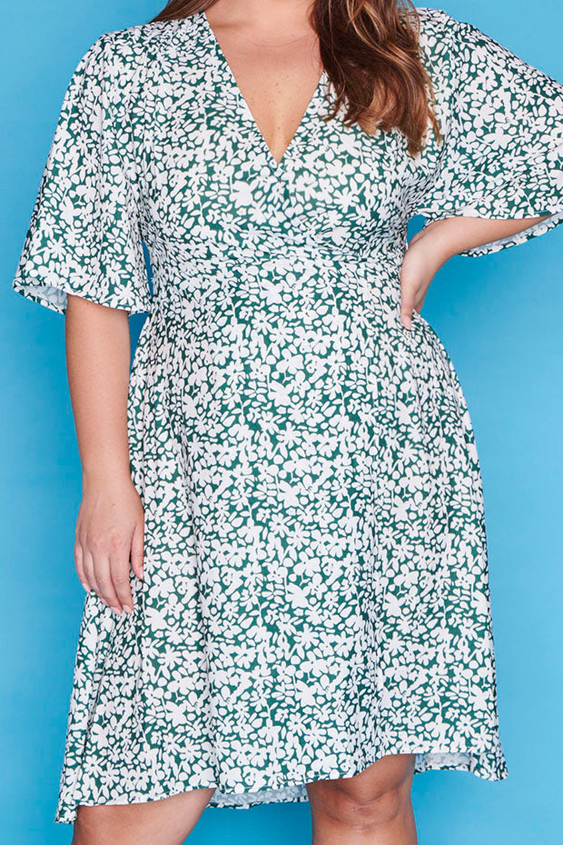 Sarah Green Floral Wrap Dress