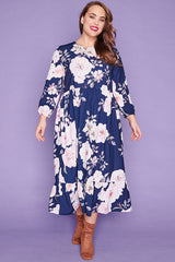 React Navy Floral Dress