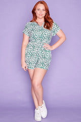 Vacation Green Floral Playsuit