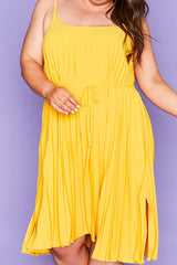 Elodie Yellow Pleated Dress