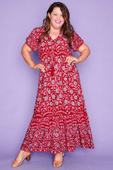 Bonnie Burgundy Floral Maxi Dress