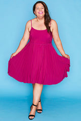 Elodie Berry Pleated Dress