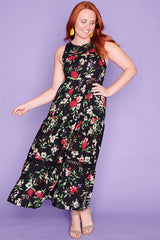 Zebina Black Floral Dress
