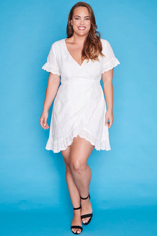 Fresh Air White Wrap Dress
