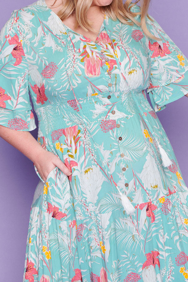 Kelsey Mint Floral Dress