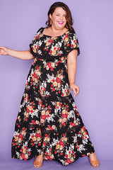 Carmel Black Floral Maxi Dress