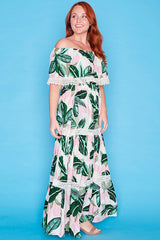 Carmel Pink Tropical Maxi Dress