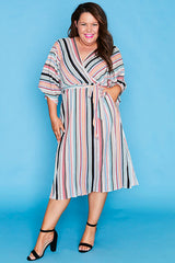Ava Rainbow Stripe Dress