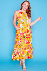 Zebina Yellow Floral Dress