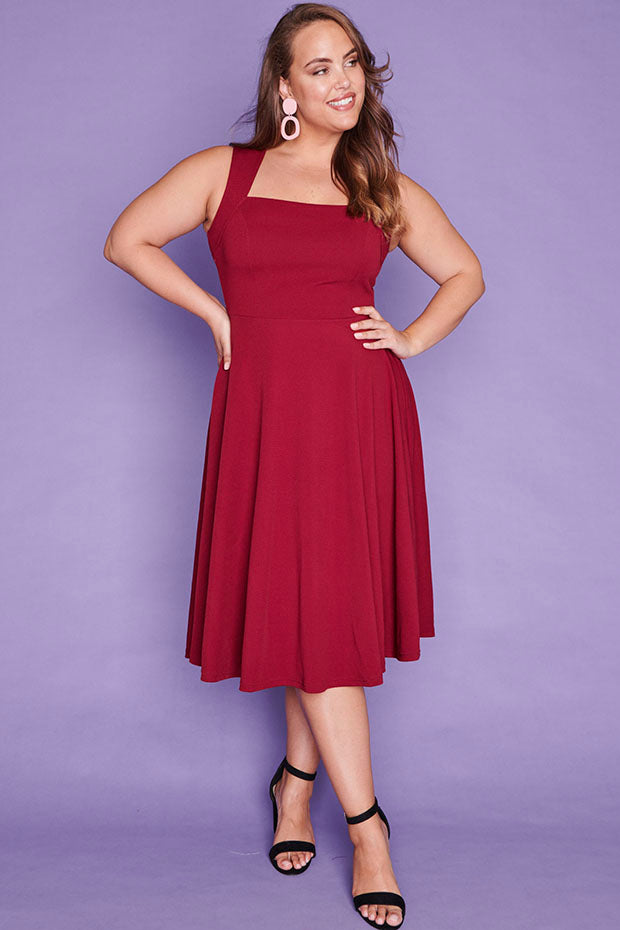 Hazel Burgundy Dress
