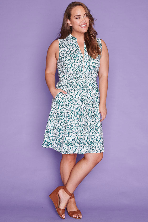 Oscar Green Floral Dress