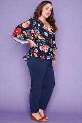 Amour Navy Floral Wrap Top