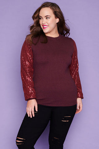 Shae Burgundy Sequin Knit