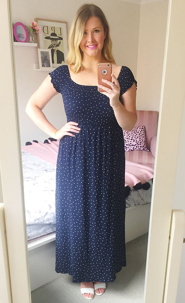 Amanda Navy Polka Dot Dress