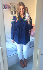 Annabel Navy Embroidered Shirt