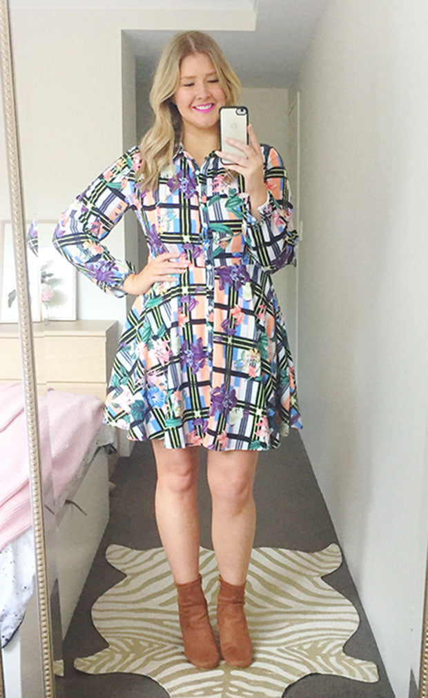 Bethany Check Floral Dress